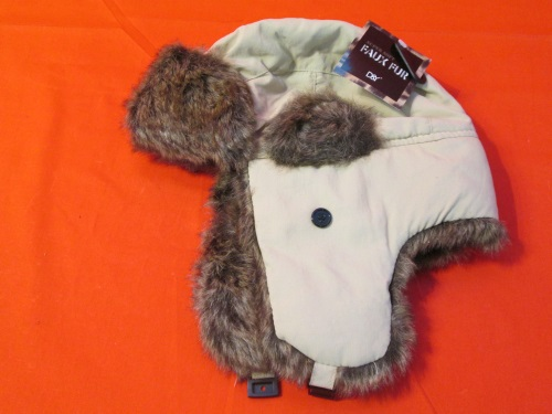 D&Y Winter Hat With Faux Fur Khaki Russian Style One Size Adult One